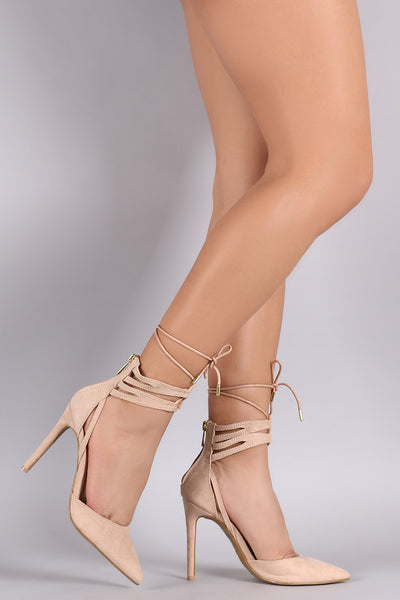 Anne Michelle Suede Lace Up Pointy Toe Stiletto Pump-Gcoco Online Store