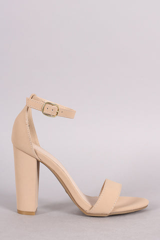 Bamboo Nubuck One Band Ankle Strap Heel-Gcoco Online Store