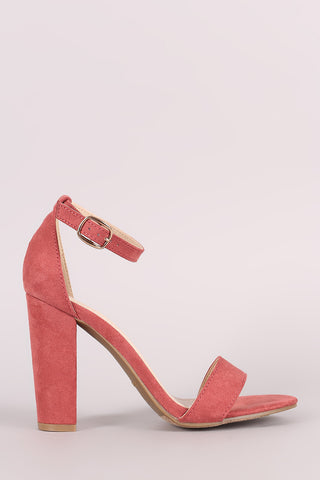 Bamboo Suede One Band Ankle Strap Open Toe Heel-Gcoco Online Store
