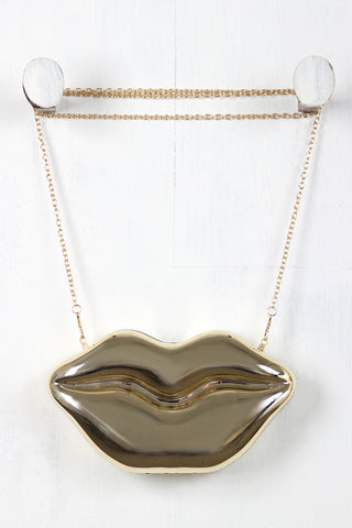 Metallic Lips Clutch Bag-Gcoco Online Store