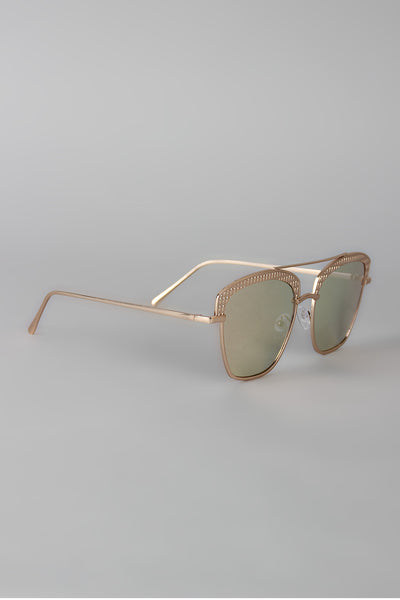 Textured Semi Rimless Wire Frame Sunglasses-Gcoco Online Store
