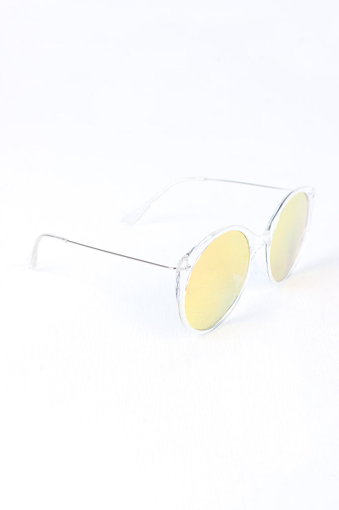 Clear Frame Round Mirrored Sunglasses-Gcoco Online Store