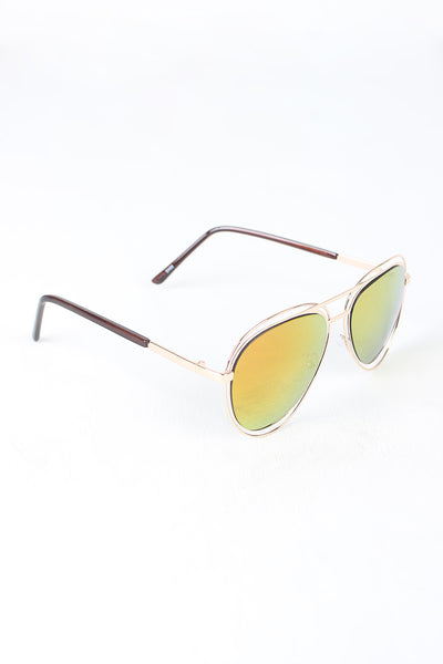 Avatar Open Wire Framed Mirror Lens Sunglasses-Gcoco Online Store