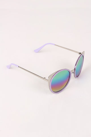 Mirrored Oval Metallic Cat Eye Sunglasses-Gcoco Online Store