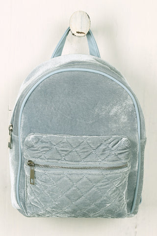 Velvet Quilted Front Mini Backpack-Gcoco Online Store