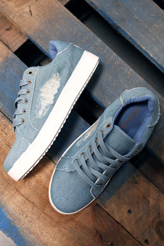 Bamboo Distressed Denim Lace Up Sneaker-Gcoco Online Store