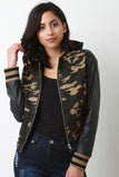 Vegan Leather Camouflage Hooded Jacket-Gcoco Online Store