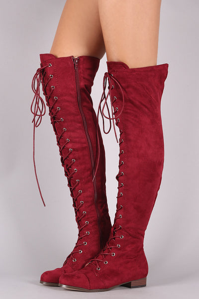 Suede Almond Toe Lace Up Combat Over-The-Knee Boots-Gcoco Online Store