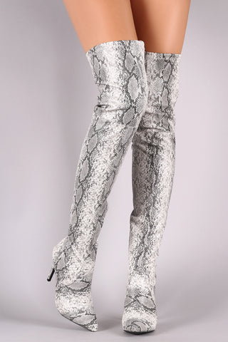 Wild Diva Lounge Snake Embossed Pointy Toe Over-The Knee Stiletto Boots-Gcoco Online Store