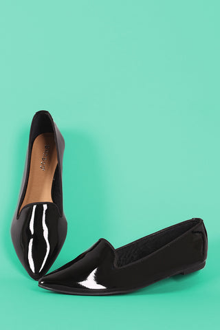 Bamboo Patent Pointy Toe Loafer Flat-Gcoco Online Store