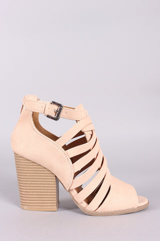 Qupid Strappy Caged Chunky Heeled Booties-Gcoco Online Store