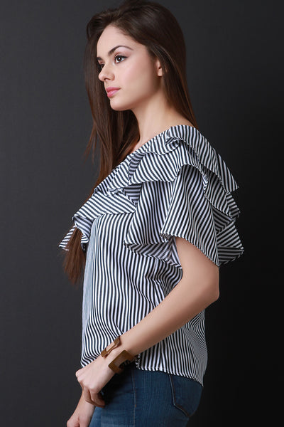 Asymmetrical One Shoulder Ruffled Tier Striped Top-Gcoco Online Store