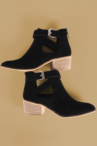 Suede Crisscross Buckled Strap Ankle Boots-Gcoco Online Store