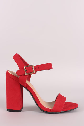 Bamboo Suede Open Toe Ankle Strap Chunky Heel-Gcoco Online Store