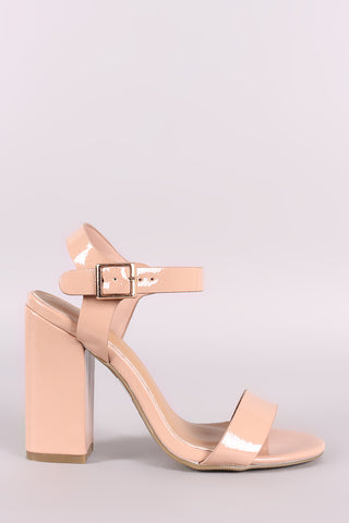 Bamboo Patent Open Toe Ankle Strap Chunky Heel-Gcoco Online Store