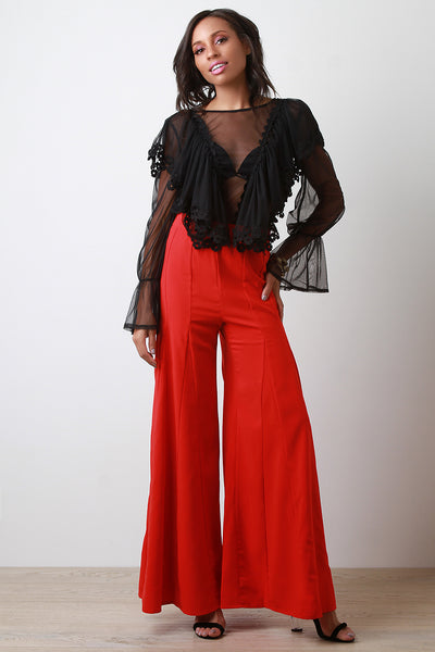 High Waisted Wide Leg Pants-Gcoco Online Store