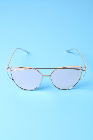 Wired Cateye Brow-Bar Aviator Sunglasses-Gcoco Online Store