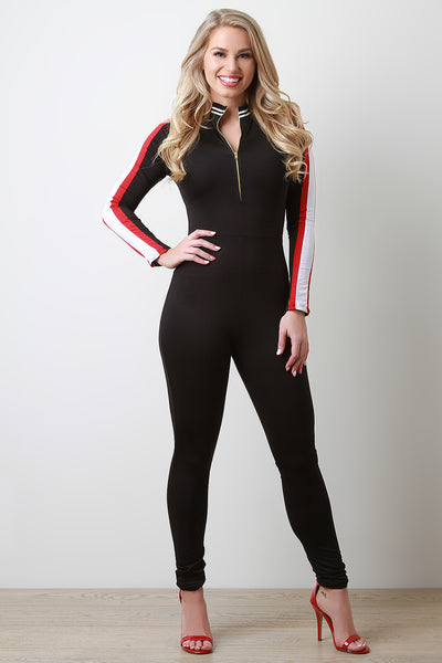 Sporty Arm Striped Half Zip Jumpsuit-Gcoco Online Store