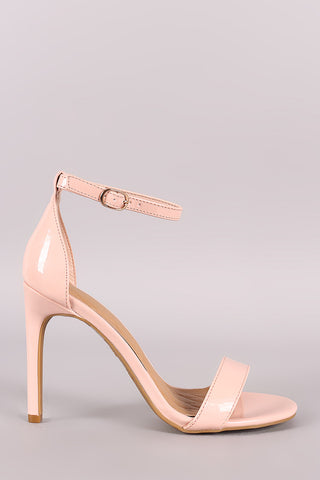 Anne Michelle Patent Ankle Strap Single Sole Heel-Gcoco Online Store