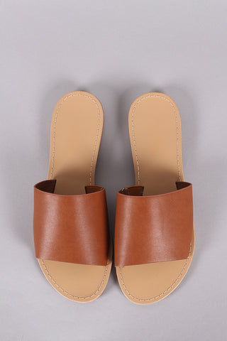 Vegan Leather Wide Band Slide Sandal-Gcoco Online Store