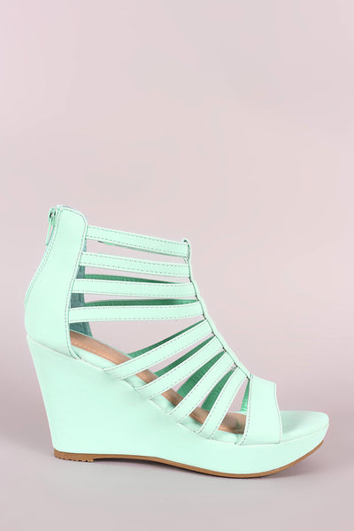 Nubuck Strappy Caged Platform Wedge-Gcoco Online Store