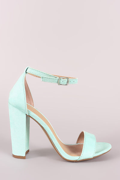 Suede Ankle Strap Open Toe Chunky Heel-Gcoco Online Store