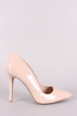 Qupid Patent Pointy Toe Stiletto Pump-Gcoco Online Store