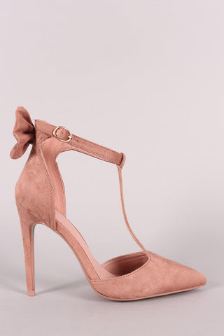 Back Bow Suede Pointy Toe T-Strap Stiletto Pump-Gcoco Online Store