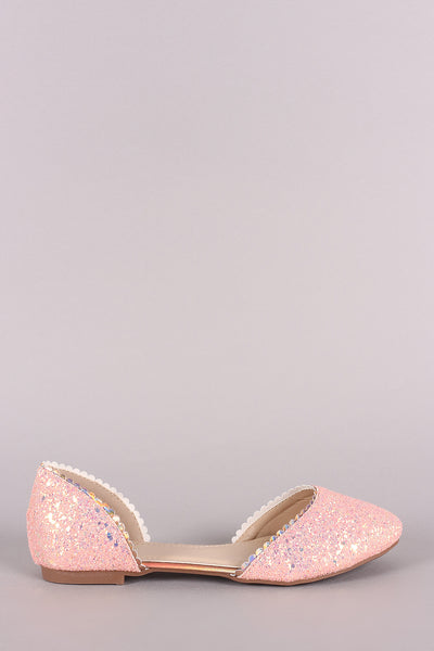 Glitter-Encrusted Scallop Dorsay Flat-Gcoco Online Store