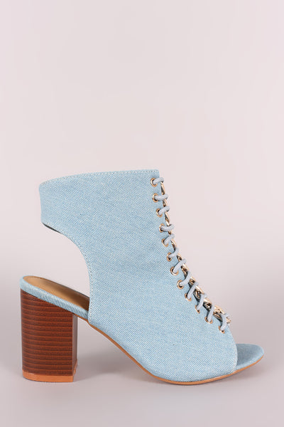 Denim Chain Accent Corset Lace-Up Peep Toe Chunky Heel-Gcoco Online Store