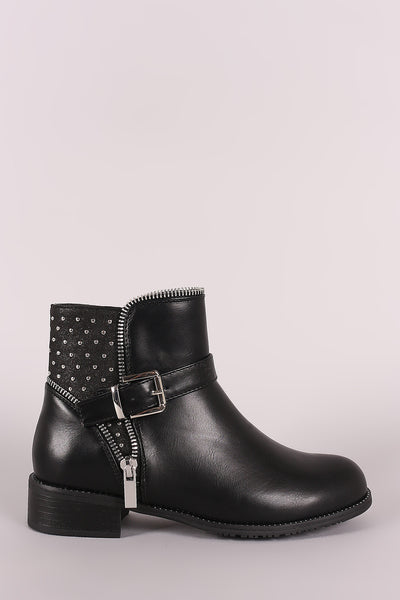 Wild Diva Lounge Buckled Zipper Trim Moto Ankle Boots-Gcoco Online Store