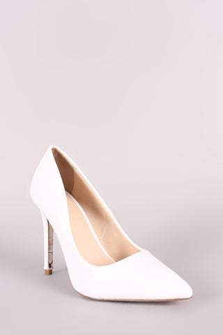 Qupid Patent Pointy Toe Floral Outsole Pump-Gcoco Online Store