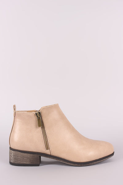 Bamboo Zipper Trim Almond Toe booties-Gcoco Online Store