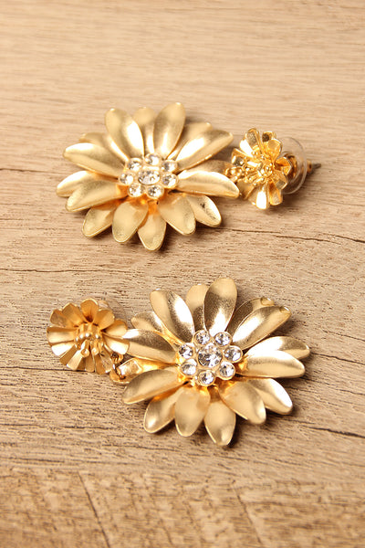 Flower Rhinestone Drop Earrings-Gcoco Online Store