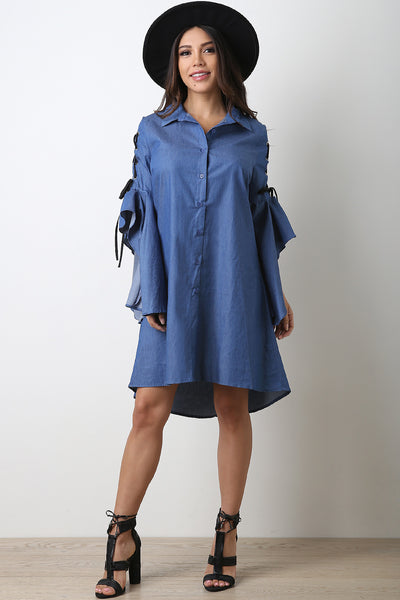 Chambray Button-Up Lace Flounce Statement Sleeve Dress-Gcoco Online Store