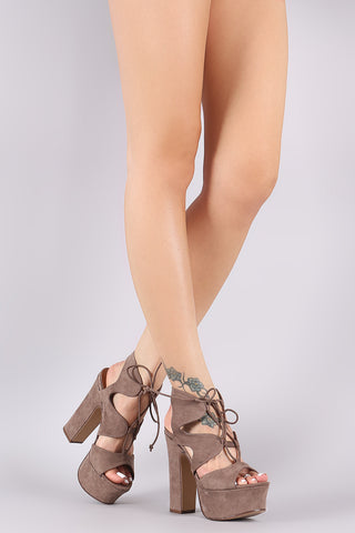 Bamboo Caged Lace Up Platform Chunky Heel-Gcoco Online Store