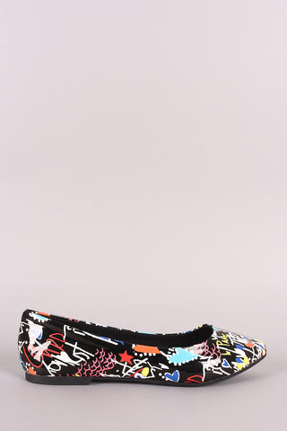 Bamboo Printed Pointy Toe Ballet Flat-Gcoco Online Store