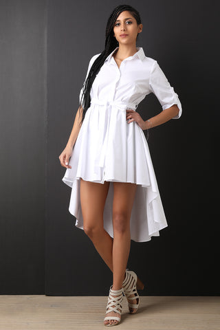 Button-Up Waist Sash High Low Dress-Gcoco Online Store