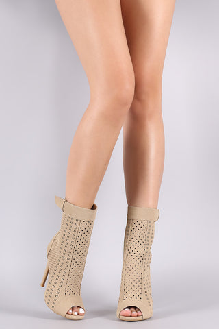 Perforated Nubuck Peep Toe Stiletto Boots-Gcoco Online Store
