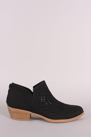 Qupid Perforated Nubuck Almond Toe Booties-Gcoco Online Store