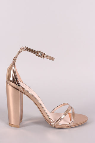 Qupid Mirrored Metallic Ankle Strap Chunky Heel-Gcoco Online Store