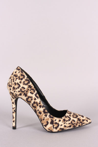 Qupid Leopard Vegan Suede Pointy Toe Stiletto Pump-Gcoco Online Store