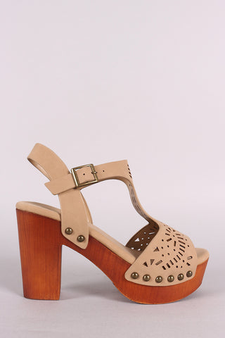 Bamboo Nubuck Laser Cut-Out Wooden Chunky Platform Heel-Gcoco Online Store