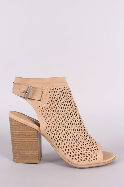 Soda Perforated Nubuck Chunky Heeled Ankle Boots-Gcoco Online Store