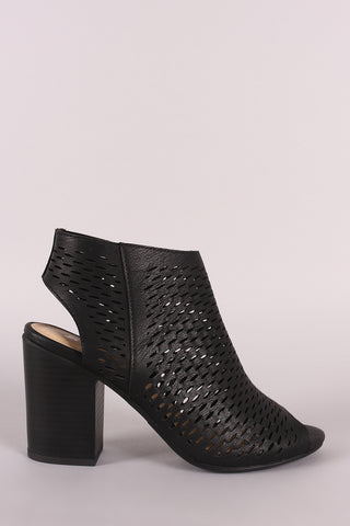 Soda Perforated Chunky Heeled Booties-Gcoco Online Store