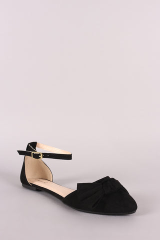 Qupid Suede Bow Accent Pointy Toe Ankle Strap Flat-Gcoco Online Store