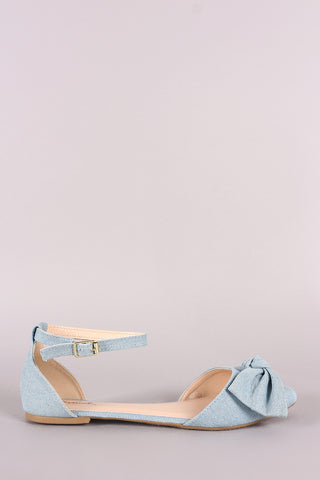 Qupid Denim Bow Accent Pointy Toe Ankle Strap Flat-Gcoco Online Store