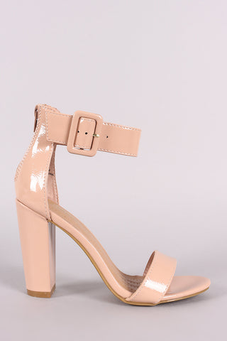 Bamboo Patent Buckled Ankle Strap Chunky Heel-Gcoco Online Store