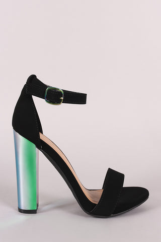 Bamboo Nubuck Ankle Strap Chunky Holographic Chunky Heel-Gcoco Online Store