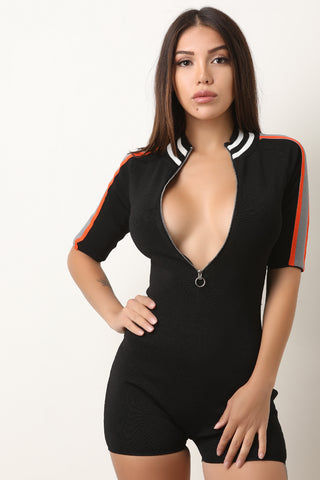 Ribbed Knit Striped O-Ring Zip-Up Fitted Romper-Gcoco Online Store